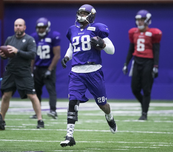 Vikings running back Adrian Peterson followed up Wednesday's practice with another one on Thursday. No one is saying definitively whether he will pl