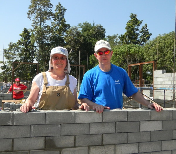 Mary Lynn and Warren Staley, who will be honored for their giving, shown at a Habitat for Humanity build several years ago.