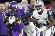 Stefon Diggs (14) caught a pass in the fourth quarter last week against the Cowboys.