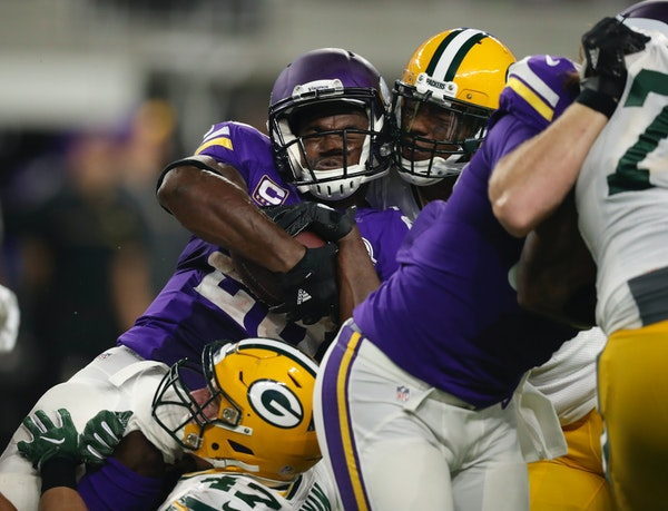Vikings running back Adrian Peterson won his third NFL rushing title last season at age 30. He gained 1,485 yards, the third-highest total of his care