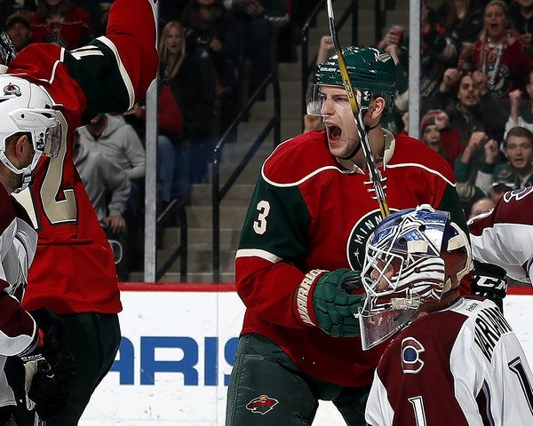 Charlie Coyle (3) celebrated after scoring a goal in the first period ] CARLOS GONZALEZ cgonzalez@startribune.com - December 20, 2016, St. Paul, MN, X