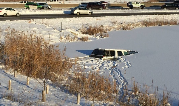 The back end of the vehicle remained just above water.