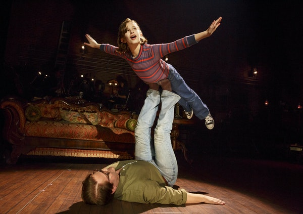"""Alessandra Baldacchino as 'Small Alison' and Robert Petkoff as 'Bruce' in the national touring production of """"Fun Home."""" Photo by Joan Marcus"""