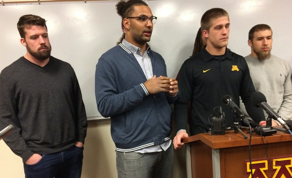 On Saturday, Gophers players announced they were ending their boycott and would play in the Holiday Bowl. Representing them were, Mitch Leidner, Gaeli