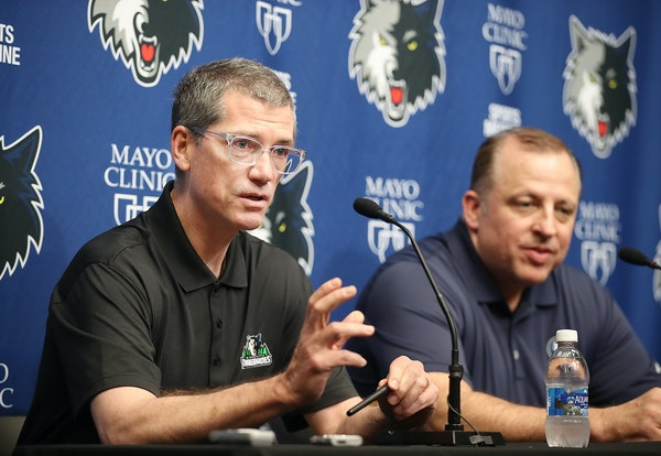 """Timberwolves GM Scott Layden, left, and coach Tom Thibodeau discussed plans for the NBA draft during a news conference Tuesday. """"I think we're rea"""