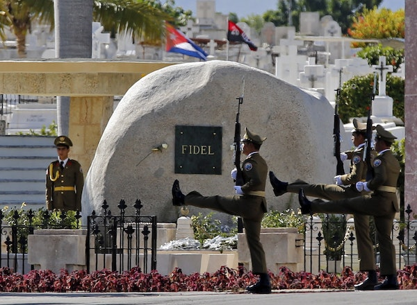 An honor guard is posted 24 hours a day at Fidel Castro's tomb at Santa Ifigenia Cemetery.