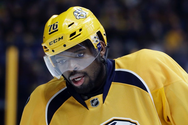 Former Montreal Canadien P.K. Subban, now with Nashville, has 11 points in seven career meetings against the Wild, including a hat trick.