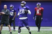 Vikings running back Adrian Peterson rejoined the team this week. It's uncertain how much he will play against the Colts on Sunday.