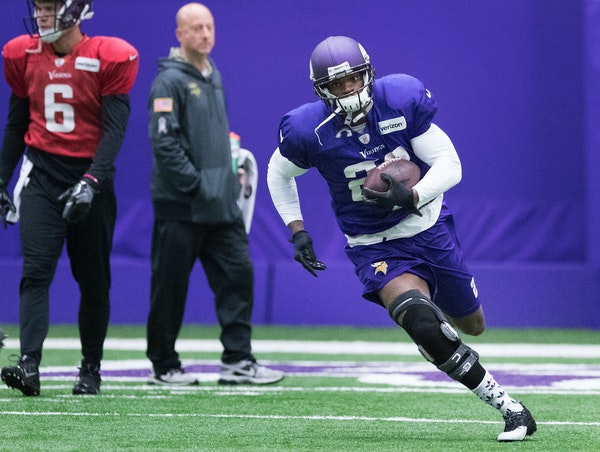Vikings running back Adrian Peterson was back on the practice field on Wednesday at Winter Park.