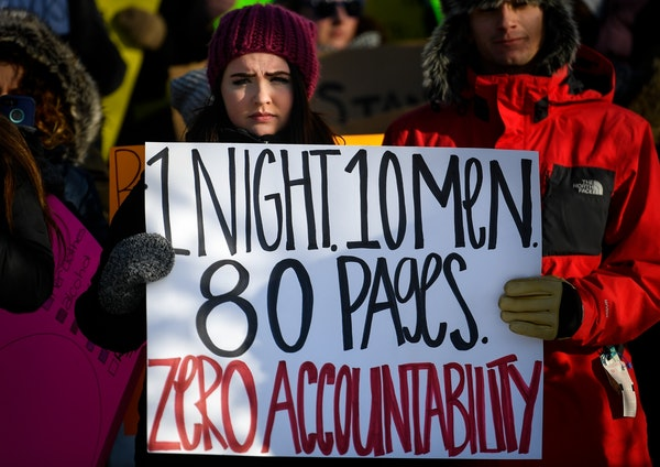 Lauren Wetzsteon, a journalism student at the University of Minnesota, was one of roughly 200 demonstrators speaking out against sexual abuse and rape