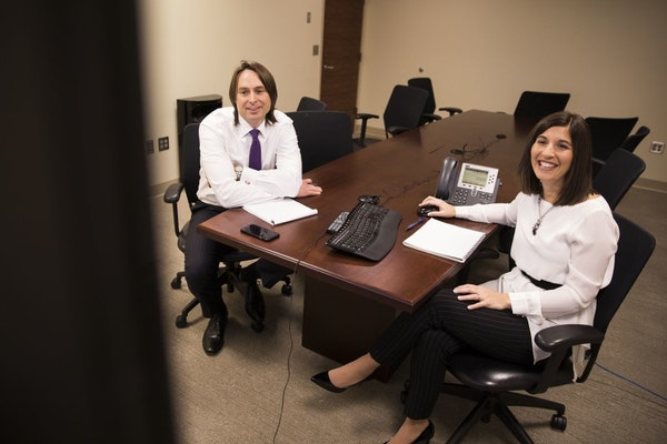 Kathryn Nash, right, an attorney at Gray Plant Mooty, worked on a series of videos with colleague Stephen Vaughan to help educate college students and