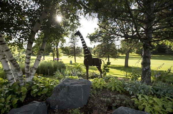 A metal giraffe sculpture towers over the hosta beds.
