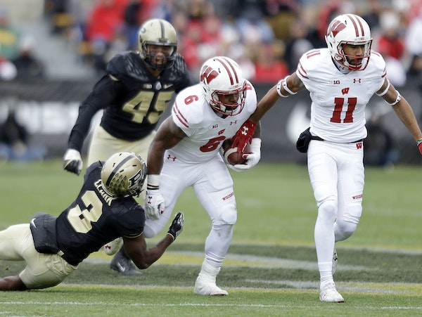 Wisconsin running back Corey Clement (6) is one player the Gophers have to contain Saturday. He was injured last season.