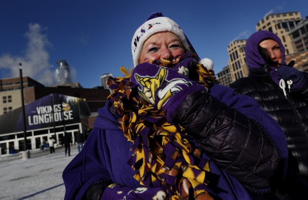 Minnesota Vikings fan Cheryl Erickson of Plymouth walked to US Bank Stadium in sub-zero temperatures.