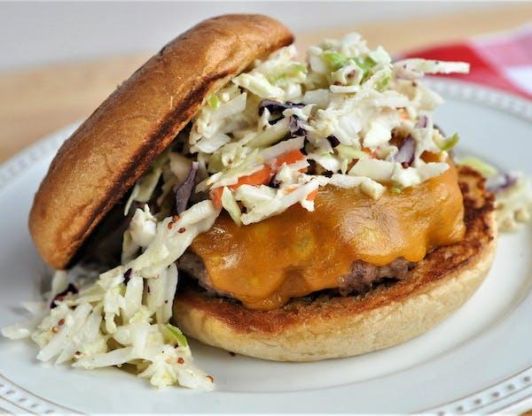 Cheddar Pork Burger with Apple Slaw