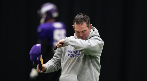 Mike Zimmer wiped his right eye with his sleeve as the Vikings practiced Wednesday at Winter Park.