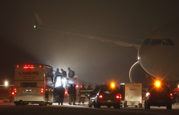Vikings players were still stuck on their chartered aircraft hours after landing at Appleton International Airport.