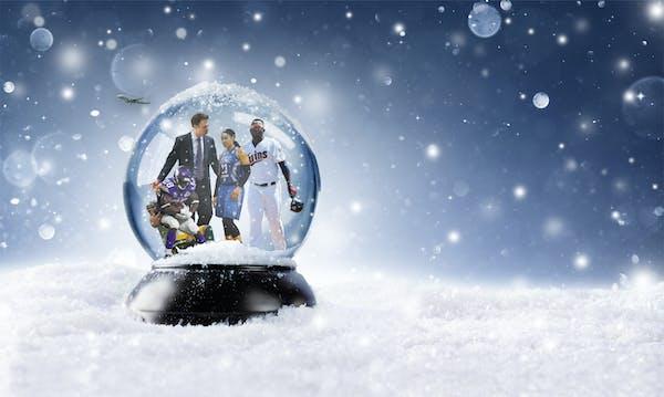 The Minnesota winter sports snow globe, inculding Adrian Peterson, Richard Pitino, Maya Moore and Miguel Sano.