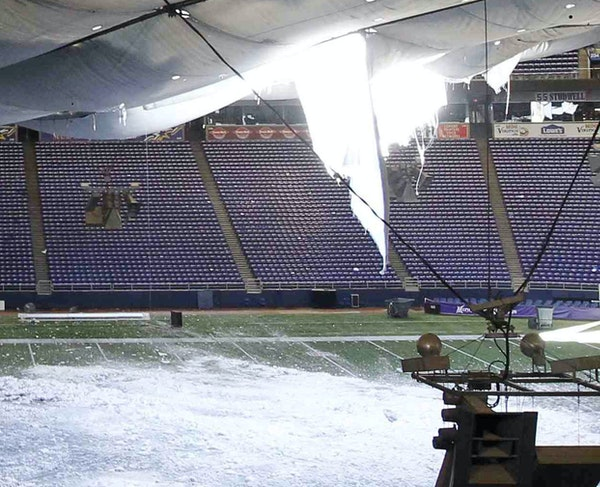 Roof Da! On Dec. 12, 2010, the Metrodome's roof collapsed after a snowstorm. That day's game vs. the Giants was move to Monday — in Detroit.