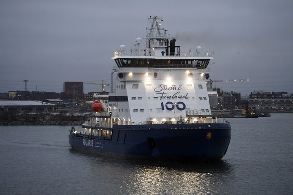 This is a Friday Dec. 30, 2016 photo of the Finnish state-owned icebreaker Polaris with Suomi Finland 100 logo as it docks in Helsinki, Finland. Finla