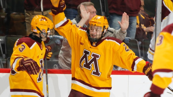 Tyler Sheehy, center, scored two goals in the Gophers' 6-3 victory over Alaska on Sunday. Photo is courtesy of the University of Minnesota. For more G