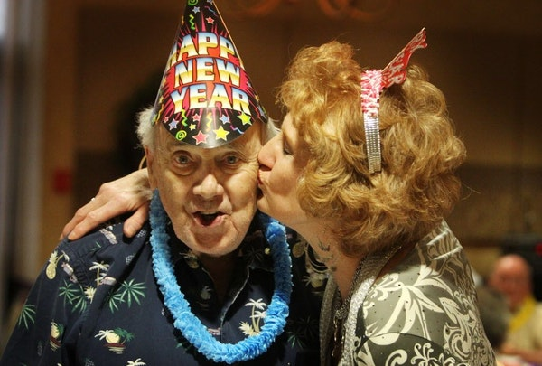 When the clock strikes midnight on New Year's Eve, it's time for a kiss -- or is it?