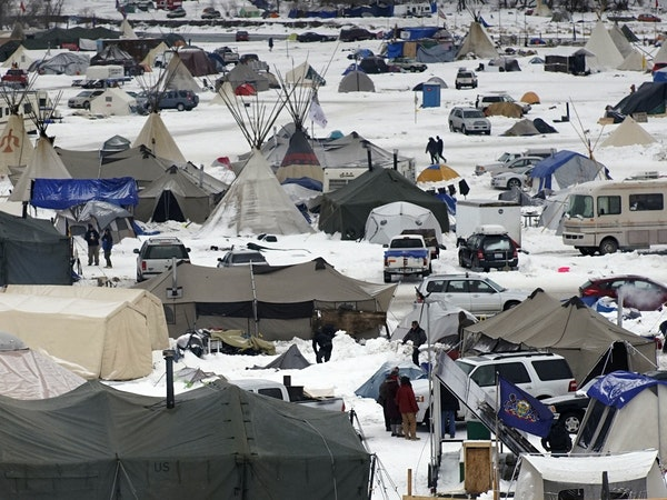 Hunkered down: Protesters adjusted to winter conditions at Oceti Sakowin Camp near the Standing Rock reservation.