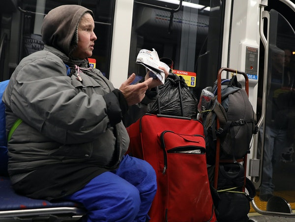 A homeless woman who identified herself only as Rita talked about spending nights on the Metro Transit light-rail trains.