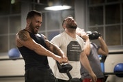 Marc Holley of Minneapolis lifted weights in an intense workout at the gym Alchemy during a Bunker Labs get-together of military veterans interested i