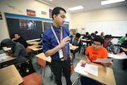 Osseo High School math teacher Waleid Hassan taught a class on Thursday, February 2, 2017 in Osseo, Minn.