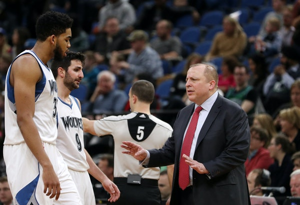 Wolves coach Tom Thibodeau offered instructions to stars Karl-Anthony Towns and Ricky Rubio in the second half Friday — a half in which the Pelicans