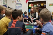 Teacher Jesse Lindsay interacts with her students.