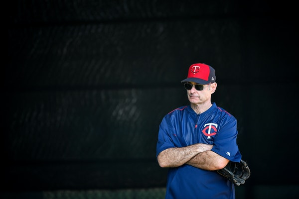 Minnesota Twins manager Paul Molitor watched catchers practice Wednesday.