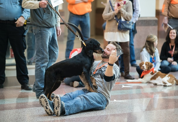"""Austin Kaus got a surprise kiss from a dog as he did a live stream for South Dakota Tourism of the """"Dog Parade'' that kicked off the Pheasant Fest and"""