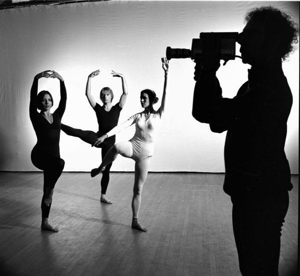 """Merce Cunningham (right) and company performing """"TV Rerun"""" in New York City in January 1975."""