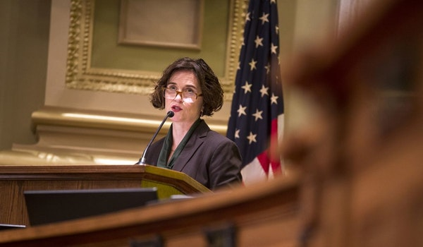 Minneapolis Mayor Betsy Hodges, seen in 2015. On Monday, Hodges' campaign manager admitted a false job posting for Council Member Jacob Frey came from