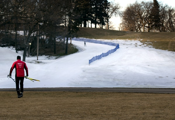 Bill Callas of Stillwater walked out to practice Thursday on the spartan ski trails at Theodore Wirth Park in Minneapolis ahead of next week's Birke