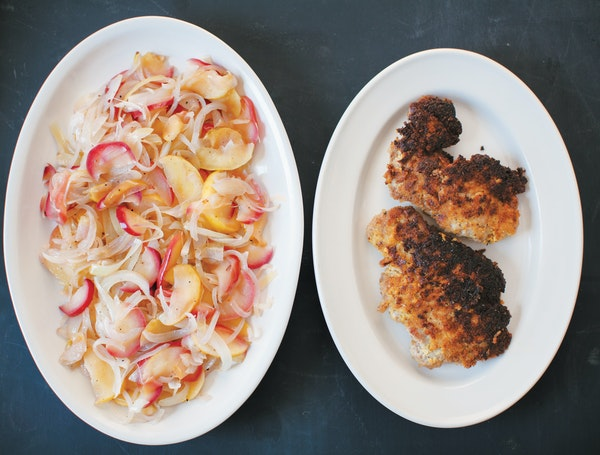 Mustard Crumb Pork Chops with Apple and Onions.