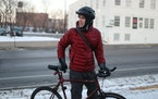 Eric Smith was spotted en route to work at Central Clinic on a cold morning in northeast Minneapolis. Smith said he uses his single-speed bike everywh