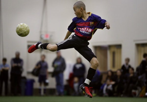 Kenji Moua of the Generation X soccer team blocked a shot during a 4 on 4 game at the National Sports Center Sunday February 19, 2017 in Blaine, MN.