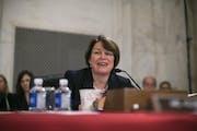 Sen. Amy Klobuchar, D-Minn., spoke while Sen. Jeff Sessions, R-Ala., President-elect Donald Trump's pick for attorney general, gave testimony during