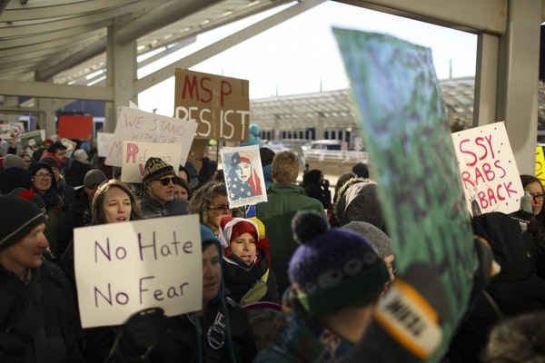 Protests at MSP airport against Trump order on travel ban