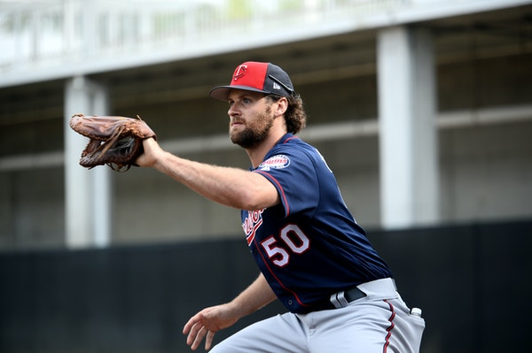 Twins first baseman Ben Paulsen (50) caught the ball during a practice for infielders in Fort Myers.