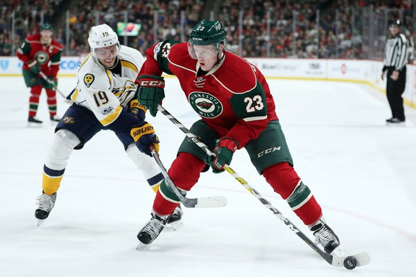 Defenseman Gustav Olofsson was recalled Tuesday afternoon and played in place of the ill Matt Dumba, while Nate Prosser took Christian Folin's spot