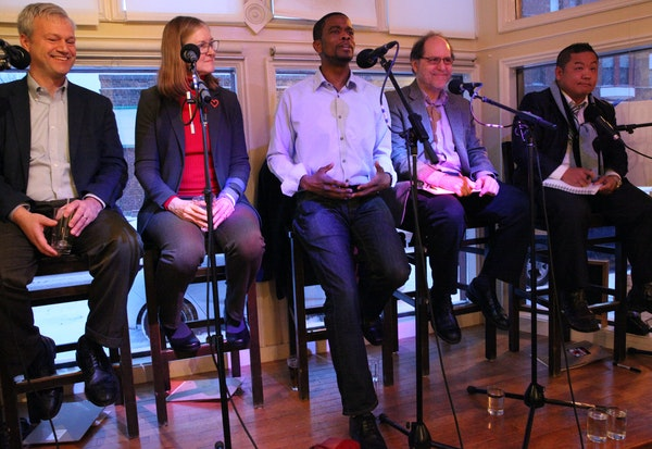 From left, candidates Pat Harris, Elizabeth Dickinson, Melvin Carter III, Tom Goldstein and Dai Thao held court at an East Side diner in St. Paul.