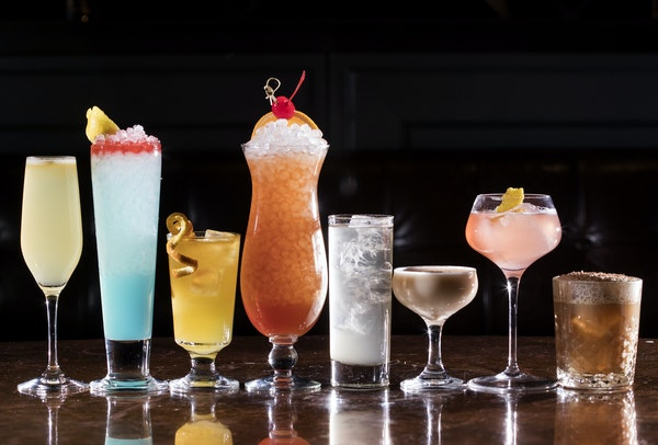 Treasure Trail, Blue Streak, Duke Antone, Hotel Sling, Pink Panther, Phoebe Snow, and Lumber Sexual. Constantine's retro inspired cocktails at Hotel
