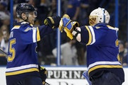 Blues goalie Jake Allen, right, won 11 of his last 15 regular-season starts with 26 goals allowed in that span. He's stopped 114 of 117 shots (.974 sa