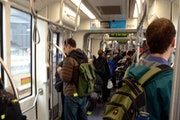 A Blue Line light-rail car. There were more than 82 million rides on Metro Transit buses and trains last year, officials say.