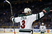 Charlie Coyle celebrated after scoring for the Wild on Wednesday night in St. Louis. Associated Press photo by Jeff Roberson