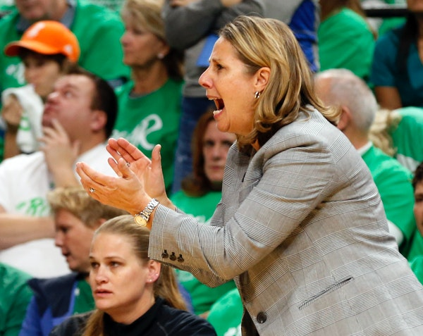 Minnesota Lynx head coach Cheryl Reeve directs her team in the second half during Game 5 of the WNBA basketball finals Thursday, Oct. 20, 2016, in Min